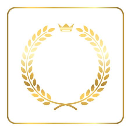 laurel leaf: Gold laurel wreath, with crown. Golden leaf emblem. Vintage design, isolated on white background. Decoration for insignia, banner award. Symbol of triumph, sport victory, trophy. illustration.