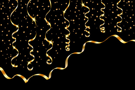 Gold curly ribbon confetti. Golden serpentine on black background. Colorful streamers. Design decoration party, birthday, Christmas, New Year celebration, anniversary, carnival Vector illustration