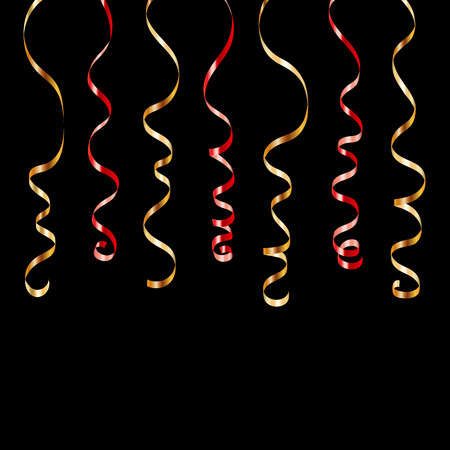 party streamers: Gold red curly ribbons. Golden serpentine on black background. Colorful streamers. Design decoration party, birthday, Christmas, New Year celebration, anniversary, carnival Vector illustration Illustration