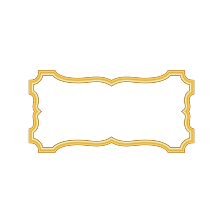 art museum: Gold frame. Beautiful simple golden design. Vintage style decorative border, isolated on white background. Deco elegant object. Empty copy space for decoration, photo, banner Vector illustration Illustration