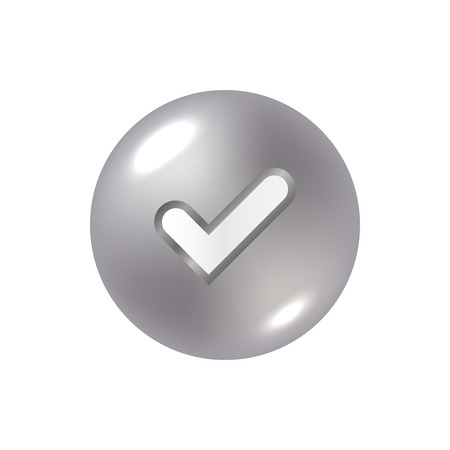 right choice: Tick silver sign element. Gray steel check mark icon isolated on white background. Illustration