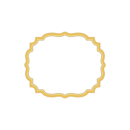 Gold frame. Beautiful simple golden design. Vintage style decorative border, isolated on white background. Deco elegant object. Empty copy space for decoration, photo, banner Vector illustration Ilustracja