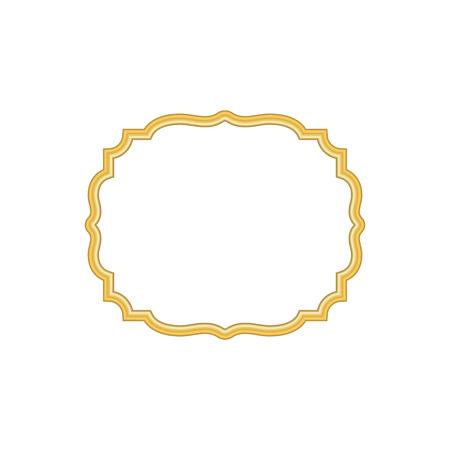 Gold frame. Beautiful simple golden design. Vintage style decorative border, isolated on white background. Deco elegant object. Empty copy space for decoration, photo, banner Vector illustration Illusztráció