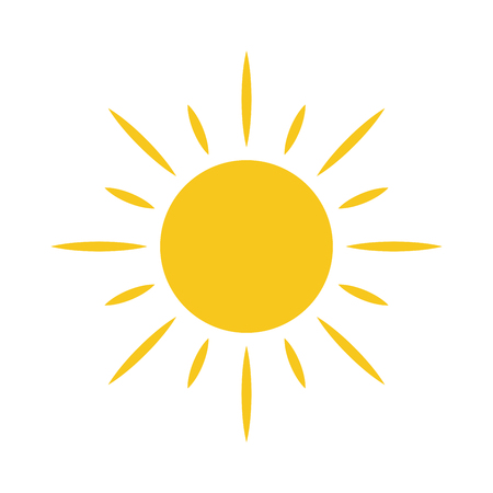 shiny buttons: Sun icon. Light sign with sunbeams. Yellow design element, isolated on white background. Symbol of sunrise, heat, sunny and sunset, sunlight. Flat modern style for weather forecast Illustration
