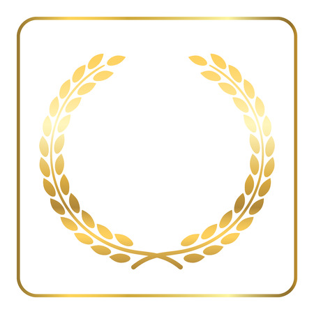 elite sport: Gold laurel wreath. Symbol of victory and achievement. Design element for decoration of medal, award, coat of arms or anniversary logo. Golden leaf silhouette on white background. illustration.