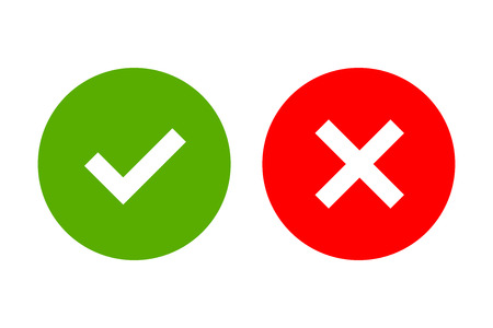 Tick and cross signs. Green checkmark OK and red X icons, isolated on white background. Simple marks graphic design. Circle shape symbols YES and NO button for vote, decision, web. illustration