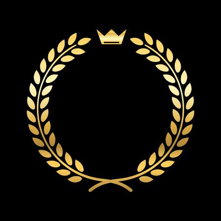 laurel leaf: Gold laurel wreath, with crown. Golden leaf emblem. Vintage design, isolated on black background. Decoration for insignia, banner award. Symbol of triumph, sport victory, trophy. illustration Stock Photo