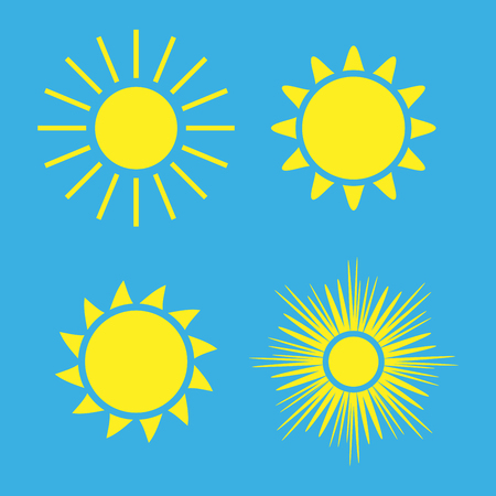 Sun icons set. Collection light yellow signs with sunbeam. Design elements, isolated on blue background. Symbol of sunrise, heat, sunny and sunset, morning, sunlight. Flat style. Illustration. Stock Illustration - 73497087