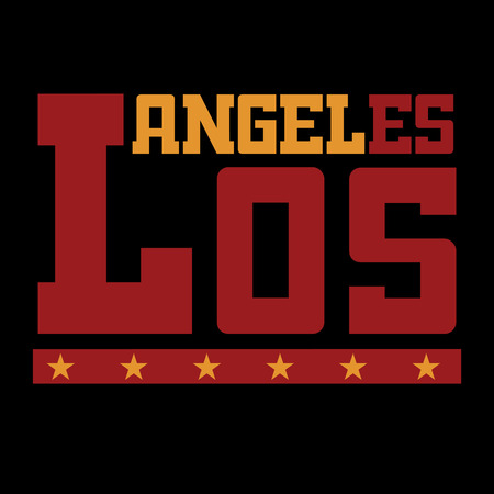 T shirt typography graphics Los Angeles California. Athletic style LA. Fashion stylish print emblem for sports wear. Template for apparel, card, poster. Symbol of american big city illustration Stock fotó
