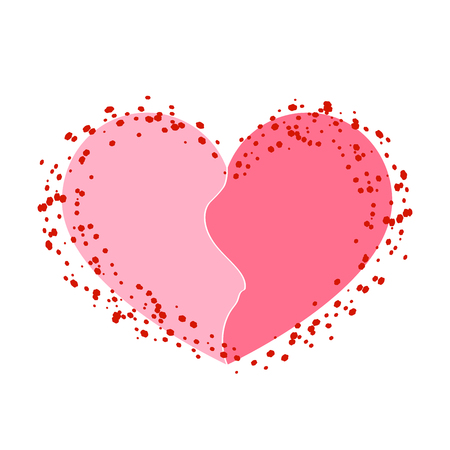 affection: Halves heart icon. Two half puzzle. Broken shape sign, isolated on white background. Beautiful symbol of heartache, passion or Valentine day, romantic, love. Drawing brush, grunge. illustration Stock Photo