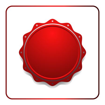 signatory: Seal award red icon. Blank medal with stars isolated on white background. Stamp design certificate. Label emblem. Symbol of assurance, winner, guarantee and best, premium, quality. illustration
