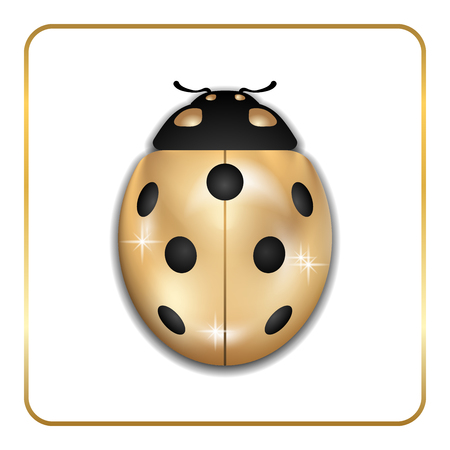 Ladybug gold insect small icon. Golden lady bug animal sign, isolated on white background. 3d volume design. Cute jewelry ladybird design. Cartoon lady bird closeup beetle. Vector illustration Illustration