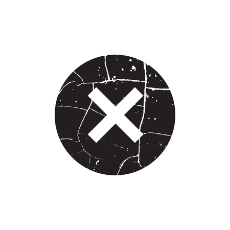 Cross sign black element. Gray grunge X icon isolated on white background. Simple mark design.