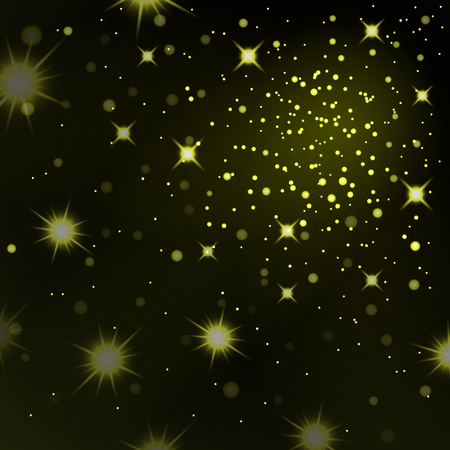 Gold stars black night sky background. Abstract bokeh glowing space design. Starry milky way. Galaxy golden starlight shine sparkle. Golden shiny fantasy glow in dark Vector illustration Stock Illustratie