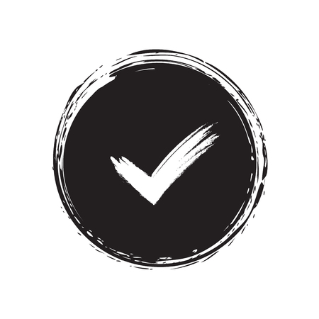 right choice: Tick sign element. Black checkmark icon isolated on white background. Simple mark design. Circle shape OK button for vote, decision, web. Symbol of correct, check, approved Vector illustration