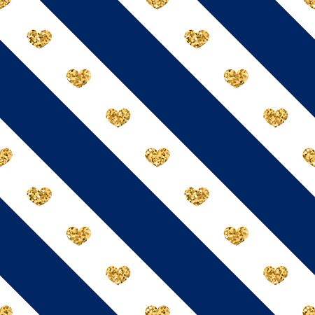 diagonal stripes: Gold heart seamless pattern. Golden glitter love confetti hearts on white blue line background. Diagonal stripe. Design Valentine day, wedding wallpaper. Modern holiday texture Vector illustration Illustration