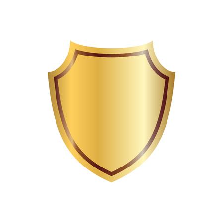 Gold Schildform-Symbol. 3D-goldene Emblem-Zeichen auf weißen Hintergrund. Symbol der Sicherheit, Macht, Schutz. Badge shield Grafik-Design-Vektor-Illustration