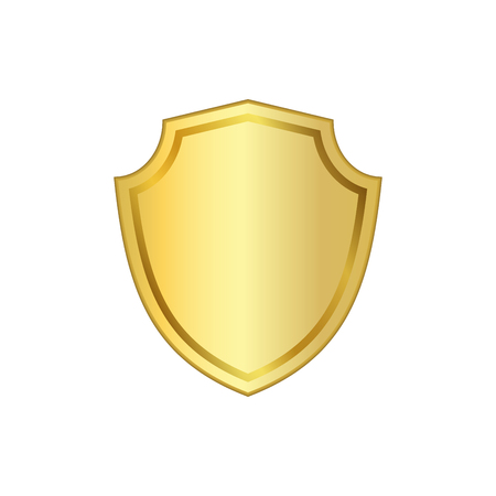 bevel: Gold shield shape icon. 3D golden emblem sign isolated on white background. Symbol of security, power, protection. Badge shape shield graphic design Vector illustration