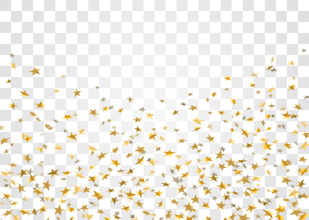 Gold stars falling confetti isolated on white transparent background. Golden abstract pattern Christmas card, New Year holiday.