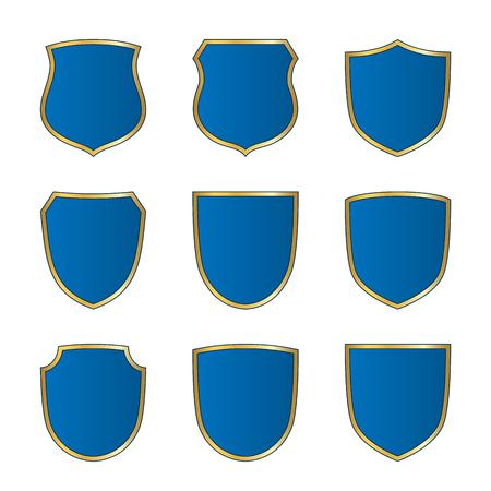 Gold-blue shield shape icons set. Bright logo emblem sign isolated on white background. Empty shape shield. Symbol of security, protection, defense. Shiny element design Vector illustration