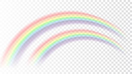 虹のアイコン。形アーチ現実的な白い透明な背景に分離されました。カラフルな明るいデザイン要素。明確な雨、空、自然のシンボルです。ベクト