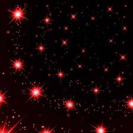 Red stars black night sky background  イラスト・ベクター素材