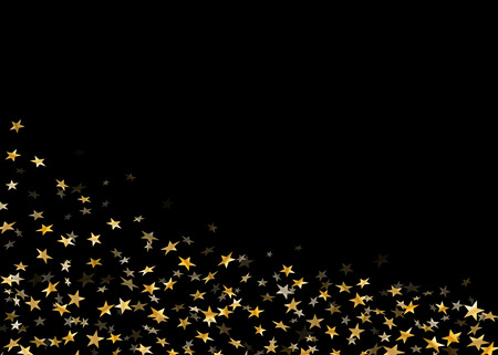 Gold stars falling confetti isolated on black background. Golden abstract random pattern Christmas card, New Year holiday. Shiny confetti paper stars. Glitter explosion on floor Vector illustration