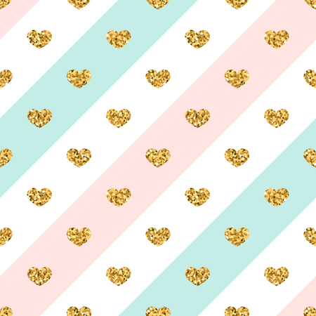 gold textured background: Gold heart seamless pattern. Golden glitter love confetti hearts on white blue pink line background. Diagonal stripe. Design Valentine day, wedding wallpaper. Holiday texture Vector illustration Illustration