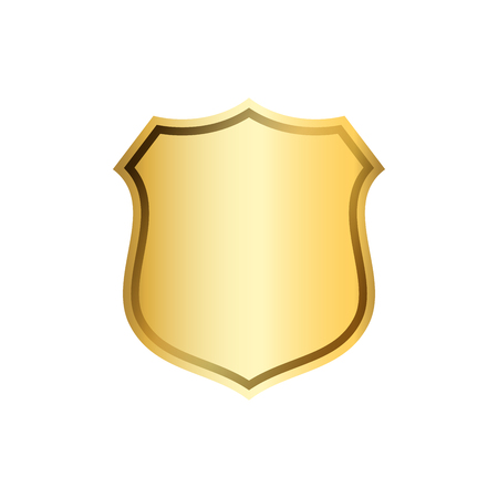 Gold shield shape icon. 3D golden emblem sign isolated on white background. Symbol of security, power, protection. Badge shape shield graphic design Vector illustration