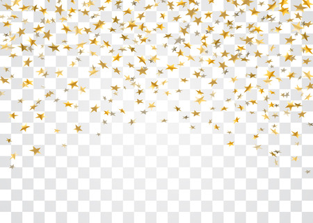 Gold stars falling confetti isolated on white transparent background. Golden explosion confetti. Abstract decoration. Stars for Christmas festive party. Shiny glitter Vector illustration
