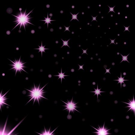 starry night: Pink stars black night sky background. Abstract bokeh glowing space design. Starry milky way. Galaxy golden starlight shine sparkle. Purple shiny fantasy glow in dark Vector illustration
