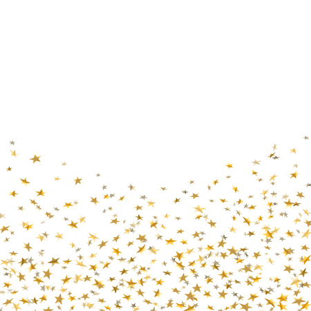 Gold stars falling confetti frame isolated on white background. Golden abstract shiny pattern Christmas, New Year holiday celebration, festive, party. Glitter explosion on floor Vector illustration Stock Illustratie