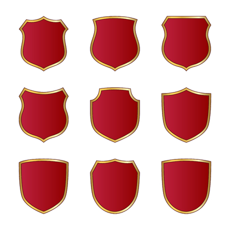 Gold and red shield shape icons set. Logo emblem metallic signs isolated on white background. Shape shield symbol of security, protection or armor, safe. Shiny element design Vector illustration