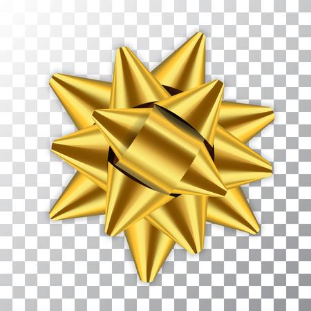 Gold bow ribbon decor element package. Shiny golden satin decoration gift present, isolated white transparent background. Christmas, New Year holiday celebration design Vector illustration