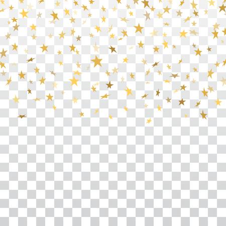 Gold stars falling confetti isolated on white transparent background. Golden abstract pattern Christmas card, New Year holiday. Shiny confetti star. Glitter explosion rain Vector illustration Illusztráció