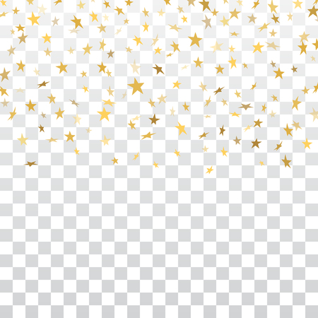 Gold stars falling confetti isolated on white transparent background. Golden abstract pattern Christmas card, New Year holiday. Shiny confetti star. Glitter explosion rain Vector illustration Stock Illustratie