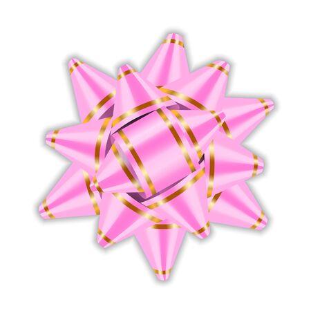 birthday celebration: Pink bow ribbon decor element package Shiny color satin decoration gift present, holiday design, isolated white background. Symbol Christmas, New Year celebration, birthday Vector illustration Illustration
