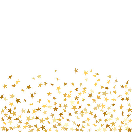 Gold star confetti celebration isolated on white background. Falling stars golden abstract pattern decoration. Glitter confetti Christmas card, New Year. Shiny sparkles on floor Vector illustration