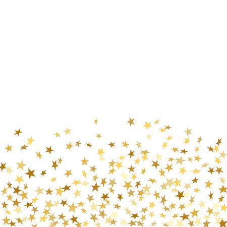 Fête de confettis en étoile d'or isolé sur fond blanc. Décoration de motifs abstraits dorés d'étoiles tombantes. Glitter confetti Carte de Noël, Nouvel An. Étincelles brillantes sur le plancher Illustration vectorielle Banque d'images - 80379797