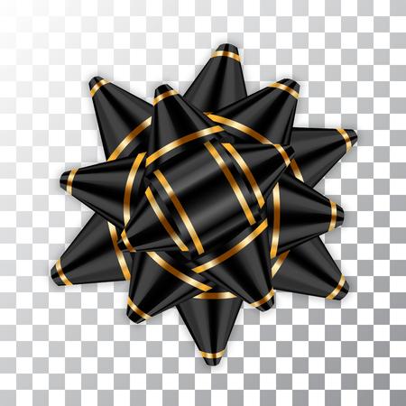 Zwart boog lint decor element pakket. Glanzend goud satijn decoratie geschenk aanwezig, vakantie ontwerp, geïsoleerde witte transparante achtergrond. Symbool Kerstmis, Nieuwjaar, verjaardag Vectorillustratie