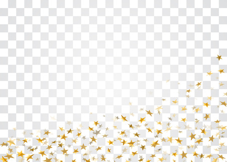 Gold stars falling confetti isolated on white transparent background. Golden abstract confetti. Decoration sparkle explosion festive, celebration party. Holiday stars on floor Vector illustration