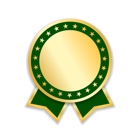 Award ribbon isolated. Gold green design medal, label, badge, certificate. Symbol best sale, price, quality, guarantee or success, achievement. Golden ribbon award decoration Vector illustration Illustration
