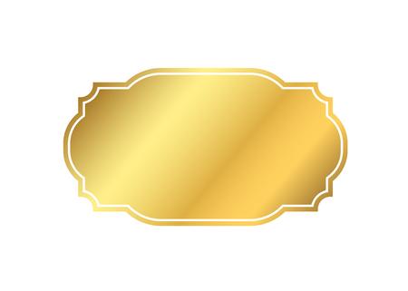골드 프레임입니다. 아름 다운 간단한 황금 디자인입니다. 빈티지 스타일 장식 테두리 격리 된 흰색 배경. 우아한 골드 아트 프레임입니다. 빈 복사본  일러스트