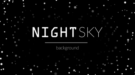 astral: Night sky with white stars on black background. Dark astronomy space template. Galaxy starry pattern for wallpaper. Shiny stars on night sky universe. Cosmos stars wallpaper. Vector illustration