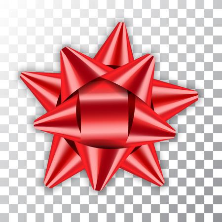 Paquet d'élément de décor ruban rouge arc brillant couleur brillante décoration cadeau présent isolé fond transparent blanc. Célébration de Noël Nouvel An, conception de vacances d'anniversaire Illustration vectorielle Banque d'images - 81572910