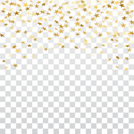 Gold stars confetti celebration isolated on white transparent background. Golden stars abstract decoration. Glitter confetti Christmas card, New Year celebration. Shiny rain Vector illustration