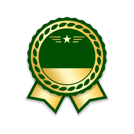 advantages: Award ribbon isolated. Gold green design medal, label, badge, certificate. Symbol best sale, price, quality, guarantee or success, achievement. Golden ribbon award decoration Vector illustration Illustration