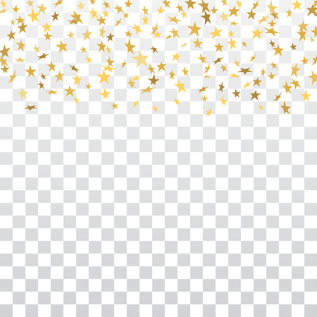 gold stars falling confetti frame isolated on transparent background