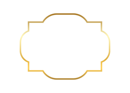 Gold and beautiful simple golden frame design. Vintage style decorative border isolated white background with empty copy space decoration, photo, banner vector illustration
