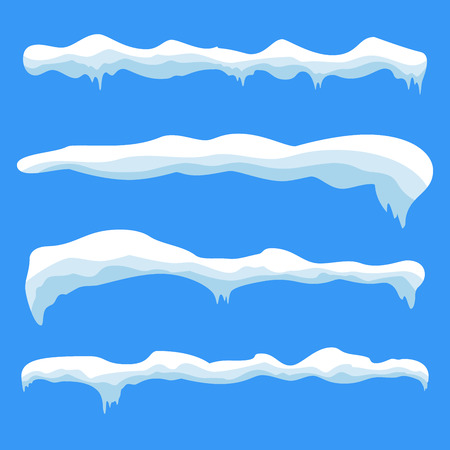 icicle: Snow ice icicle set Winter design. White blue snow template. Snowy frame decoration isolated on blue background. Cartoon style. Christmas, New Year frozen ice texture Vector illustration